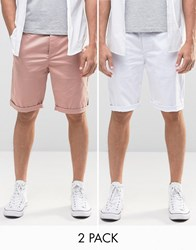 Asos 2 Pack Slim Long Length Chino Shorts In Pink And White Mahogony Rose White Multi