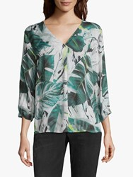 Betty And Co. Leaf Print Blouse White Green