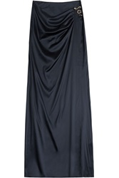 Roberto Cavalli Silk Maxi Skirt With Snake Embellishment Blue