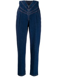 Attico Panelled Straight Leg Jeans Blue