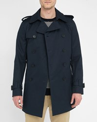 Sandro Navy Double Breasted Trench Coat With Leather Details On Magnetic Under Collar