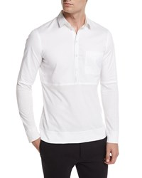 Helmut Lang Long Sleeve Pullover Polo White