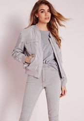 Missguided Utility Bomber Light Grey Grey