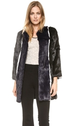 Jocelyn Stripe Fur Coat Iron Navy Black White