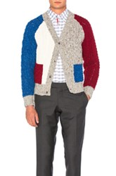 Thom Browne Cable Fun Mix Cardigan In Gray Red Blue Gray Red Blue