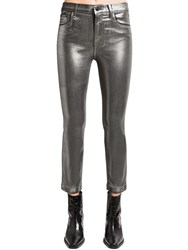 J Brand Ruby Cropped Coated Skinny Pants Silver