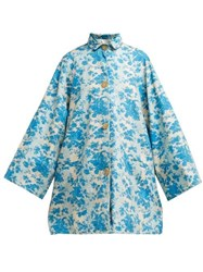 By Walid Poppy Floral Print Cotton Coat Blue Print