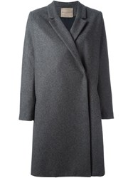 Erika Cavallini Semi Couture Notched Lapel Coat Grey