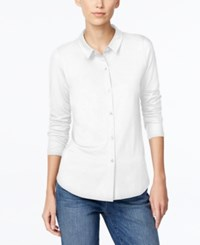 Eileen Fisher Petite Long Sleeve Button Down Shirt White
