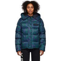 Kenzo Blue And Green Down Moire Tiger Puffer Jacket
