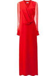 Lanvin Sheer Sleeve Pleated Detail Gown Women Silk Acetate Viscose 40 Red