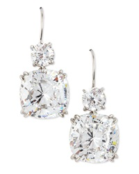Fantasia Stacked Cubic Zirconia Earrings Silver White Gold Red