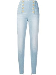 Balmain Embossed Button Trousers Blue