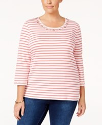 Karen Scott Plus Size Striped Grommet Top Only At Macy's Coral Tile