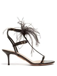 Aquazzura Ponza 60 Feather Embellished Leather Sandals Black