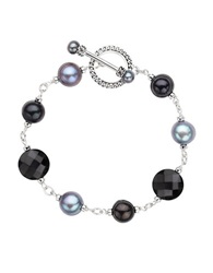 Honora Style Sterling Silver Freshwater Pearl And Onyx Bracelet Onyx Silver