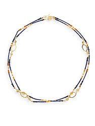 Azaara Sapphire Pearl And 22K Yellow Gold Necklace Gold Multi