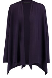 Donna Karan Draped Cashmere Cardigan Purple