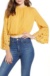 Moon River Eyelet Bell Sleeve Crop Top Gold