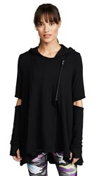 Terez Hoodie With Elbow Slashes Black
