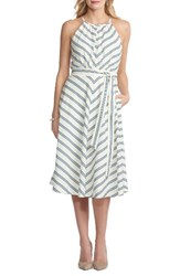 Eci Women's Chevron Midi Dress Ivory Blue