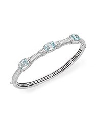 Judith Ripka Estate Sky Blue Stone White Sapphire And Sterling Silver Bangle Bracelet Silver Blue