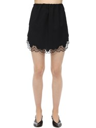 N 21 Virgin Wool And Lace Mini Skirt Black