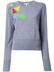 Olympia Le Tan Embroidered Sweatshirt Grey