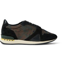 Burberry Suede And Leather Trimmed Camouflage Print Mesh Sneakers Dark Green