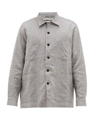 Schnayderman's Patch Pocket Checked Linen Blend Twill Shirt Grey