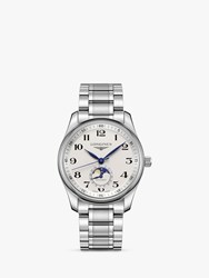 Longines L29094786 'S Master Collection Automatic Date Moonphase Bracelet Strap Watch Silver