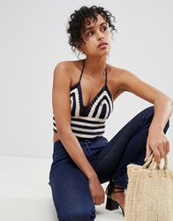 Pepe Jeans Duna Crochet Knit Halterneck Crop Top Navy
