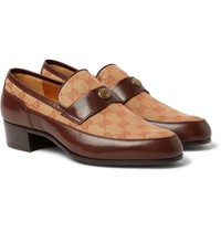 Gucci Printed Monogrammed Coated Canvas And Leather Loafers Brown