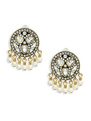 Heidi Daus Faux Pearl And Crystal Drop Button Earrings Gold