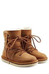 Ugg Australia Lodge Suede Boots With Lace Up Front Brown