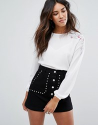 New Look Cuff Sleeve Floral Embroidered Blouse Cream