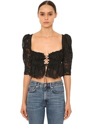 Brock Collection Ruffled Viscose Lace Crop Top Black