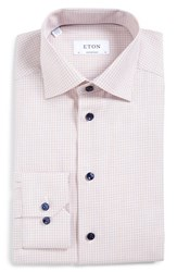 Eton Men's Big And Tall Contemporary Fit Check Dress Shirt Orange