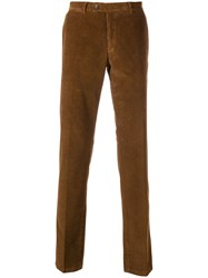Fay Straight Leg Corduroy Trousers Brown