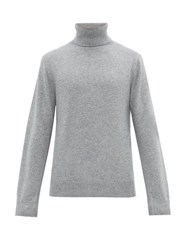 Joseph Embroidered Logo Cashmere Roll Neck Sweater Grey