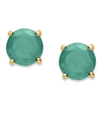 Victoria Townsend 18K Gold Over Sterling Sterling Earrings May's Birthstone Emerald Stud Earrings 1 1 2 Ct. T.W. None