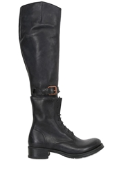 Corvari 35Mm Convertible Leather Boots Black