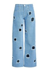Rejina Pyo Straight Jeans With Cut Out Holes