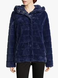 Betty Barclay Faux Fur Jacket Blue Ink