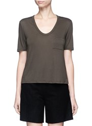 Alexander Wang Patch Pocket Scoop Neck Rayon T Shirt Green
