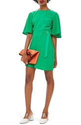 Topshop Back Cutout Asymmetrical Dress Green