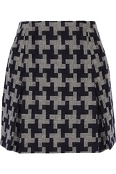 Carven Houndstooth Pleated Wool Blend Mini Skirt Blue