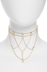 Topshop Cage Choker Necklace Gold