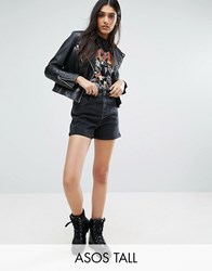 Asos Tall Denim Mom Shorts In Washed Black Washed Black