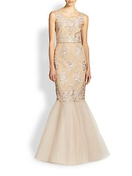 Marchesa Re Embroidered Lace And Tulle Mermaid Gown Rose Gold